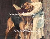 "Little Girl, Big Dog, ""Compulsory Education"", RESTORED Antique Print, Wonderful Wall Art for Girl's Room #56"