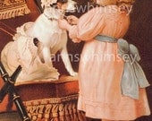 "Little Girl and Dog, ""Playing Dress-Up"", Unhappy Terrier Dog,  RESTORED Art Print  #178"