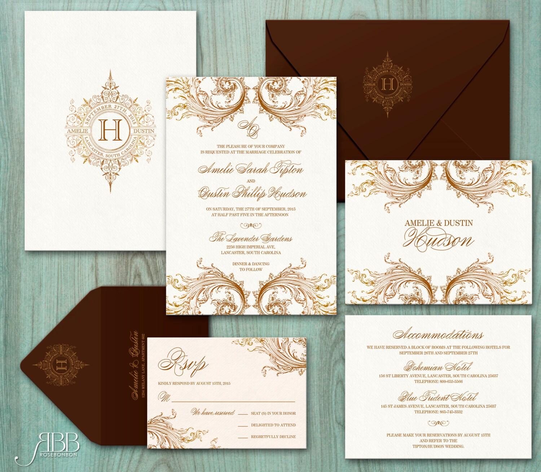 Printable Wedding Invitation Sets: Printable Wedding Invitation Set Dyi Invitation Romantic