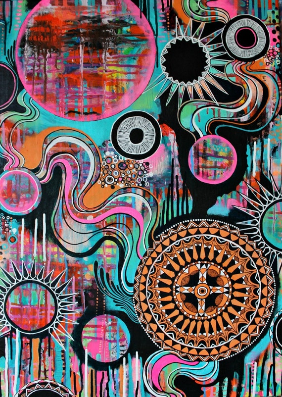LOOSE ENDS - colorful original acrylic painting orange black white mandala, large mandalas, teal neon pink hippie art