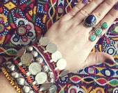 Nahia Bracelet Afghani fabric coin & stud bracelet