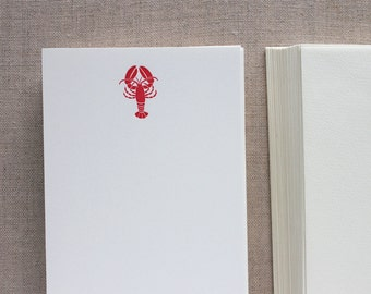 Flat Card Set with Letterpress Lobster (vertical)