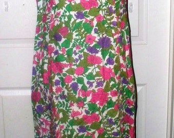 1960s Shift Dress - Handmade - No Labels - Purple Pink Green White Floral