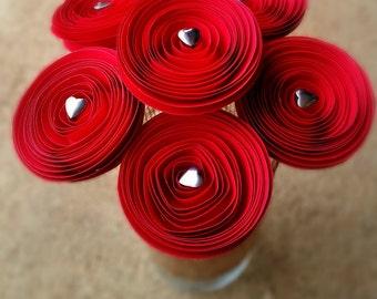 Paper Flower Bouquet - Alice in Wonderland Red Paper Flowers & Silver Hearts Paper Flowers - Handmade Paper Flowers for Brides, Weddings