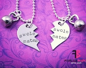 Swole Mates Necklaces with Kettlebells, Set of 2, Weightlifting, Bodybuilder, Kettlebell Necklaces, Motivation, Exercise Jewelry, SwoleMates