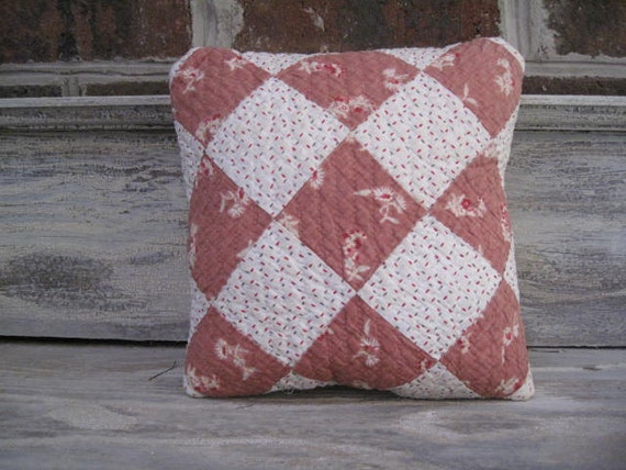 Vintage Quilt Pillow backed with Old Quilt material