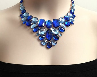 royal blue and light sapphire color bib rhinestone necklace