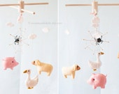 Nursery Baby Mobile, Nursery Decor, Farm Animals Farm mobile Storybook Mobile by A Continual Lullaby, baby girl mobile, Pastel colors