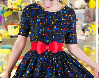 1950's Style Retro Gamer Dress, Gamer Dress, Geek Chic, Pacman, Pacman Dress, Arcade, Arcade Games, Vintage Dress, Retro Dress, 1950s Dress