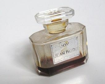 Vintage 1940s DECO Joy de Jean Patou Paris 1 Ounce Crystal Glass Perfume Bottle with Perfume..Made in France..Retro Deco