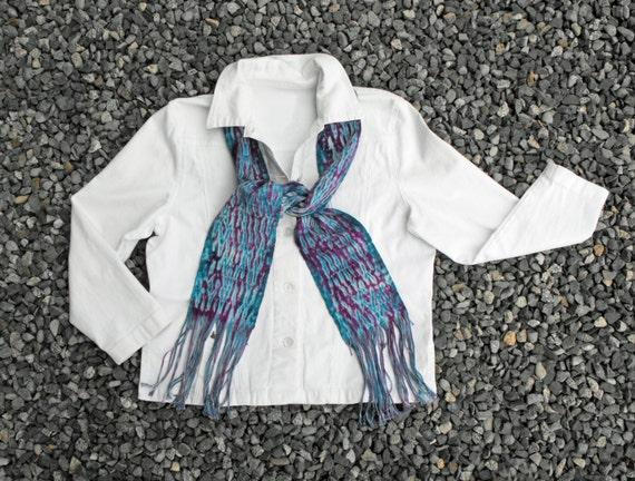 Hand Dyed Shibori Scarf, Dark Teal Scarf Purple, Blue Scarf Amethyst, Handwoven Scarf Cotton, Hand Woven Scarf Tie Dyed, Ladies Scarf Women