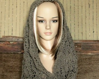 Women's Crochet Infinity Scarf, Crochet Chunky Scarf, Infinity Cowl, Wool Lace Neckwarmer, Wool Shawl, Australia, Nchanted Gifts