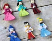 Cinderella Collection Hair Clip Pin Set - Cinderella, Prince, Godmother, Lady Tremaine, Anastasia, Drizella