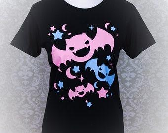Kawaii Bats, Stars, and Crescent Moons Graphic T Shirt Pastel Goth Fairy Kei