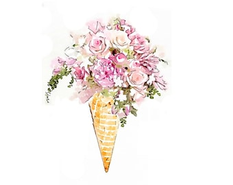 Flower Ice Cream Cone Bouquet Print from Watercolor Painting