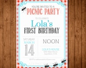 Printable Picnic Party Birthday Invitation. Kids Birthday Party. Toddler Party. Instant Download.
