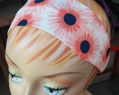 Navy Blue & Coral Pink Daisy Headband - 100% Cotton - White
