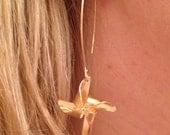 Gold Pinwheel Long Dangle Summer Earring