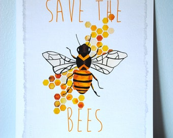Save the Bees Watercolor Print