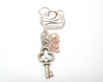 Key Ear Cuff, Crystal Ear Cuff, Pearl Ear Cuff, Silver Ear Cuff, Cute Earrings, Hypoallergenic Earrings, Silver Plated Earrings