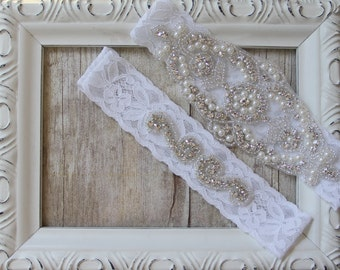 Wedding garter, Customizable Lace Garter Set, Bridal Garter Set, Wedding Garter Set, Stretch Lace Garter, Rhinestone Garter, prom garter