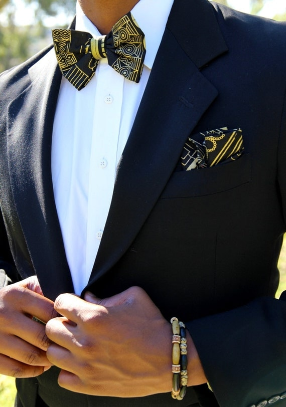 Black And Gold Christmas: Black & Gold Tribal Bow Tie Set