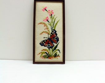 Vintage Floral and Butterfly Wall Art with Frame, Handmade Artwork