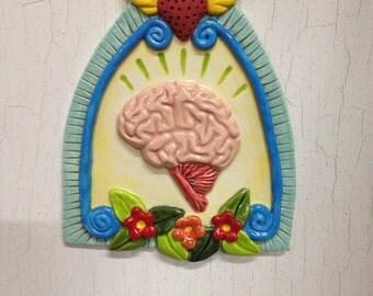 Ceramic Anatomical Brain Ornament w/ Flowers- Yellow Background