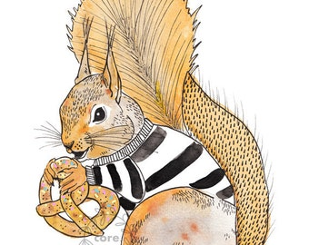 Squirrel with pretzel watercolour illustration
