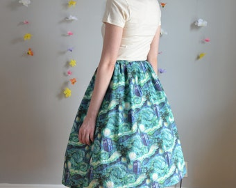 Blue & Green Police Box + Starry Night Print Skirt / Stitch in Time Skirt
