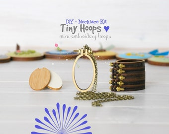 DIY Necklace Kit - Mini Embroidery Oval Hoop Frame with Necklace - 27mm x 45mm Oval Hoop - Miniature Embroidery Hoops - DIY Mini Hoop Frame