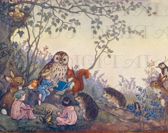 Woodland Animals READ To Elves & Children. Vintage Storybook Illustration.  Digital Download. Vintage Print.