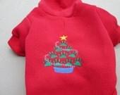 Christmas Dog Hoodie - Embroidered Dog Hoodie - Dog Sweatshirt - Christmas Tree Dog Hoodie - Red Dog Hoodie - Holiday Dog Hoodie