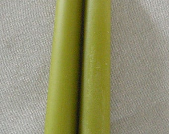"Pair Beeswax 12"" Lime Green Taper Candles Hand Crafted By The Beekeeper"