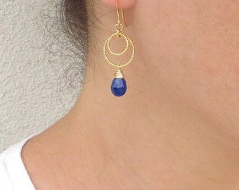 Gold lapis earrings, Gold loop earrings, Lapis lazuli earrings