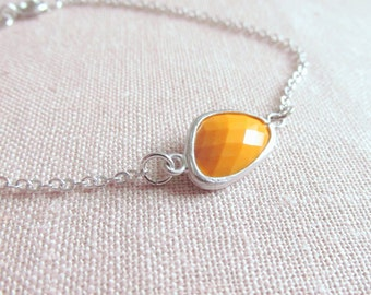 Mustard Yellow Bracelet, Silver, Modern Glass Stone, Dainty Jewelry, Minimalist