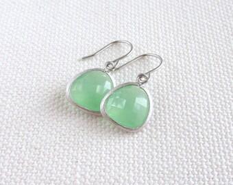 Mint Green Dangle Earrings, Rhodium Silver Dainty Earrings, Minimalist Modern Bridal