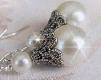 Vintage Style Bridal Earrings, Wedding Earrings, Antique Style Bridesmaid Earrings, Silver, Wedding Jewelry, Bridal Party, White, Ivory