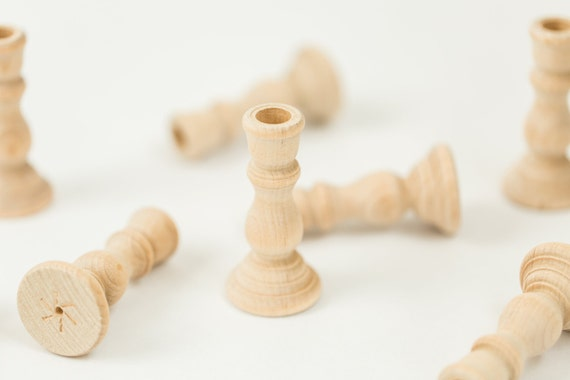 3 wood candle holders candlesticks wedding by fancythatloved - Unfinished wood candlestick holders ...