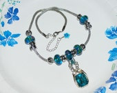Handmade Snake Chain Necklace and Aqua Pendant, Euro Glass Beads on Silver Rope Chain