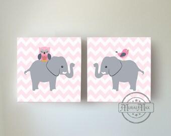 Pink And Gray Elephant Nursery Art Decor  - Canvas Art - Baby Girl Room Decor - Elephant Nursery Playroom