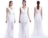 V-neck Lace Chiffon Wedding Dress, Elegant Custom Made Bridal Wedding Dress, Beading Wedding Dress With Slit