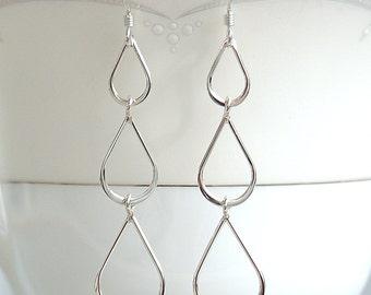 Sterling Silver Earrings, Statement Earrings, Teardrop Earrings, Dangle Earrings,