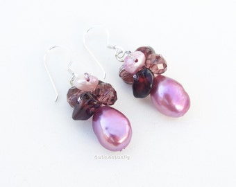 Purple freshwater pearl earring with stone, crystal on silk thread, sterling silver ear wires, purple earings