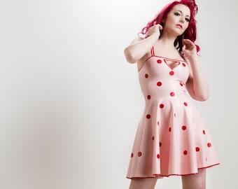 Latex Polka Dot Swing Dress with Cutout