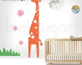 Giraffe Growth Chart Wall Decal - Stickers for Kids / Children - 0007