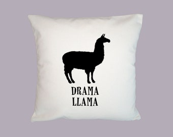 Fun Drama Llama Silhouette Illustration  - HANDMADE Pillow cover 16x16 - Choice of fabric, image in ANY COLOR