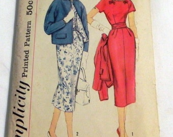 1950s Wiggle Dress and Kimono Sleeve Jacket sewing pattern Rockabilly Mad Men Slenderette Simplicity 2387 Size 14.5 Bust 35""