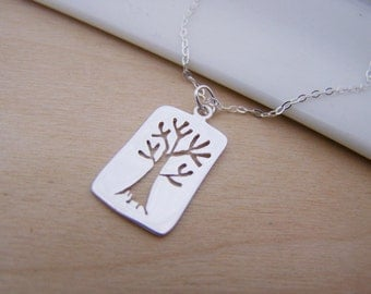 Rectangle Cut Out Tree Charm Sterling Silver Necklace Simple Jewelry / Gift for Her