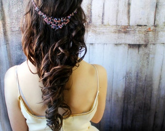 Boho Headband, Great Gatsby Headpiece, Purple Jewelry, Purple Headpiece, Purple Accessories,